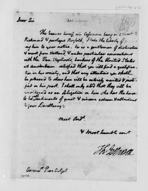 Thomas Jefferson to Beverley Randolph, May 1, 1791, with Copy