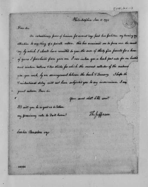 Thomas Jefferson to Carter Braxon, January 11, 1791