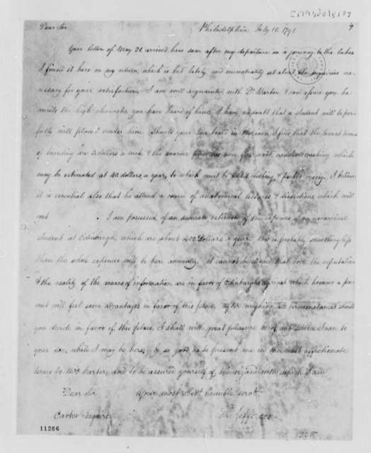 Thomas Jefferson to Charles Carter, July 10, 1791