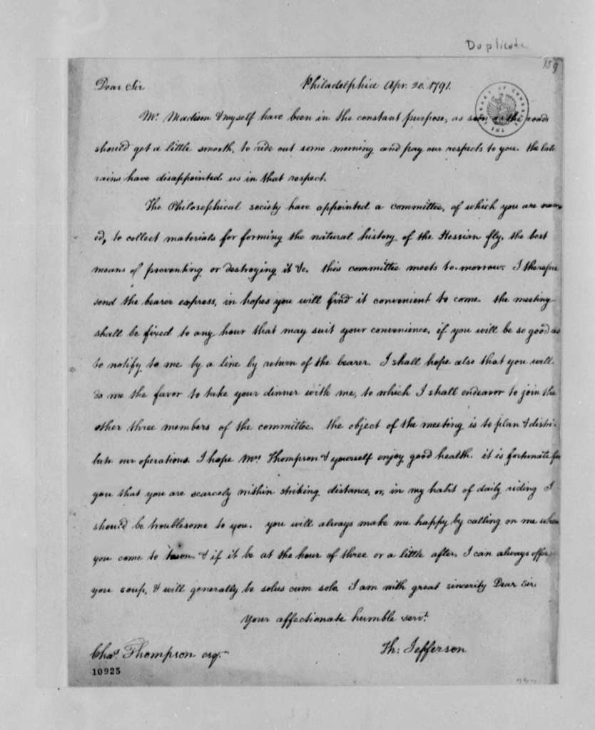 Thomas Jefferson to Charles Thomson, April 20, 1791, with Copy