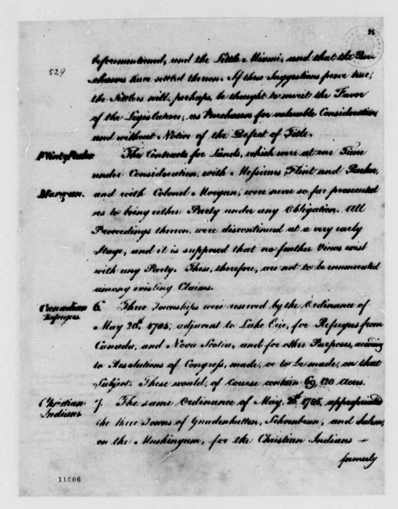Thomas Jefferson to Congress, November 8, 1791, Report