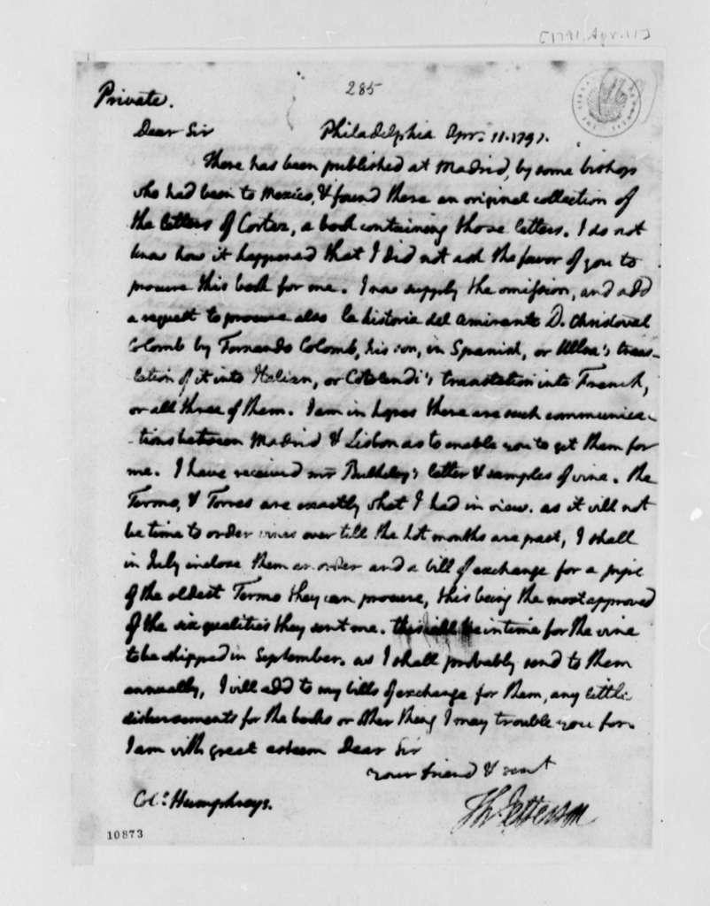 Thomas Jefferson to David Humphreys, April 11, 1791, with Copy