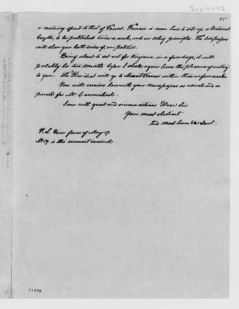 Thomas Jefferson to David Humphreys, August 23, 1791, with Copy