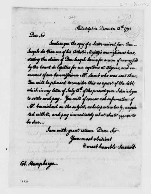 Thomas Jefferson to David Humphreys, December 13, 1791