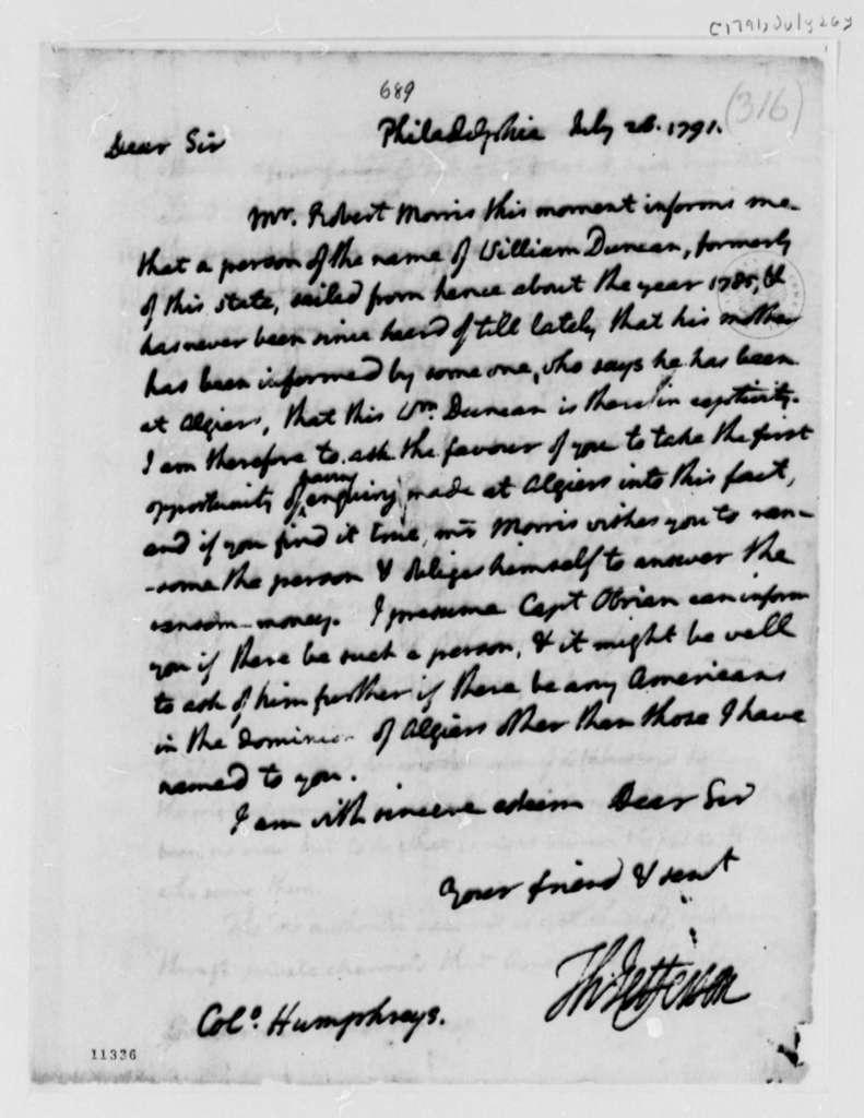 Thomas Jefferson to David Humphreys, July 26, 1791