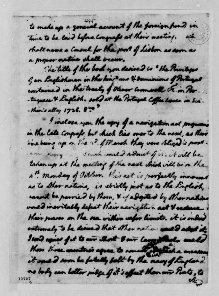 Thomas Jefferson to David Humphreys, March 15, 1791