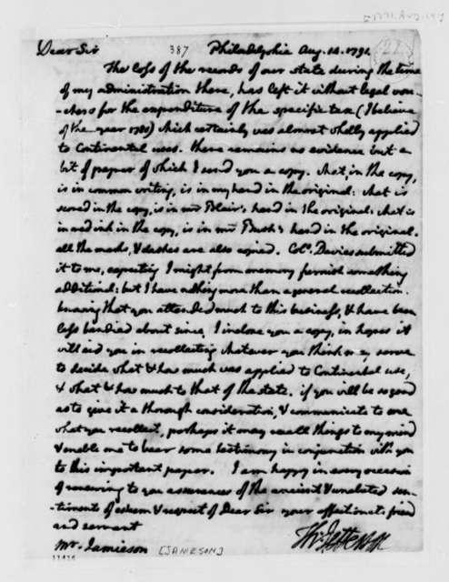 Thomas Jefferson to David Jameson, August 14, 1791