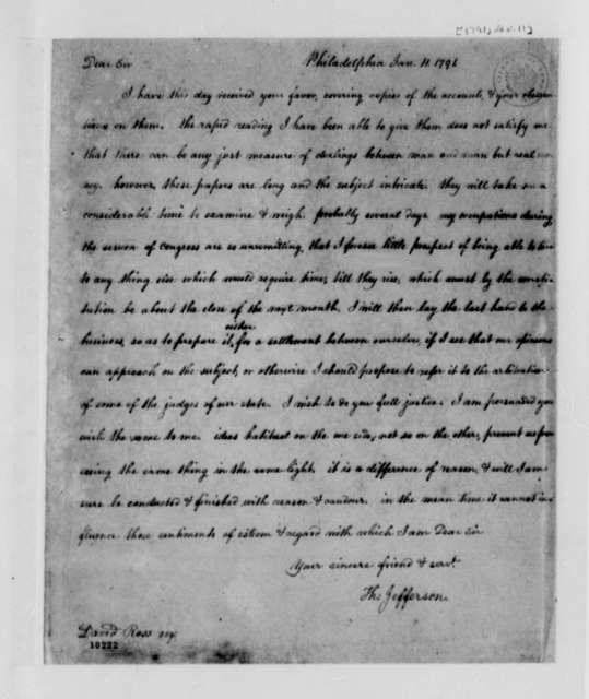 Thomas Jefferson to David Ross, January 11, 1791