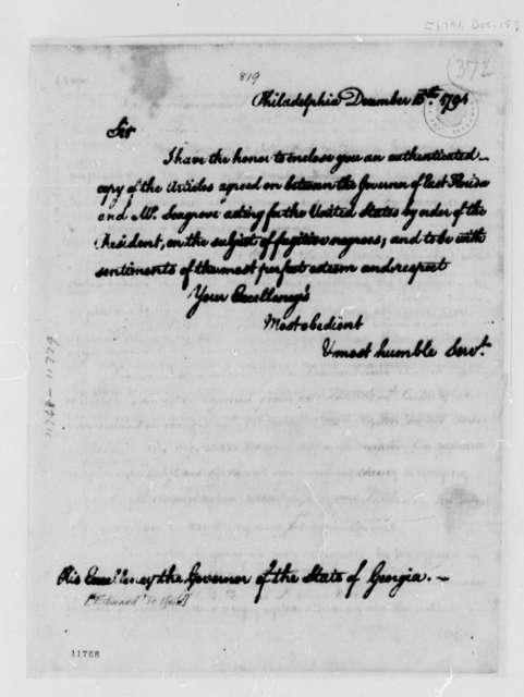 Thomas Jefferson to Edward Telfair, December 15, 1791