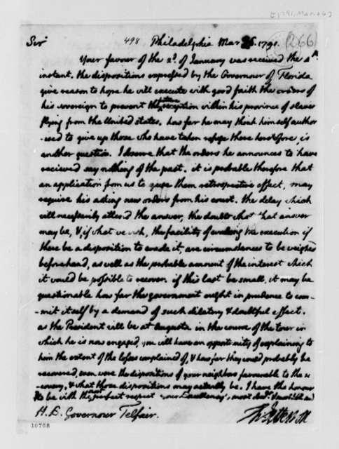 Thomas Jefferson to Edward Telfair, March 26, 1791, Transcription recipient states William Telfair