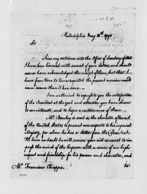 Thomas Jefferson to Francisco Chiappe, May 13, 1791