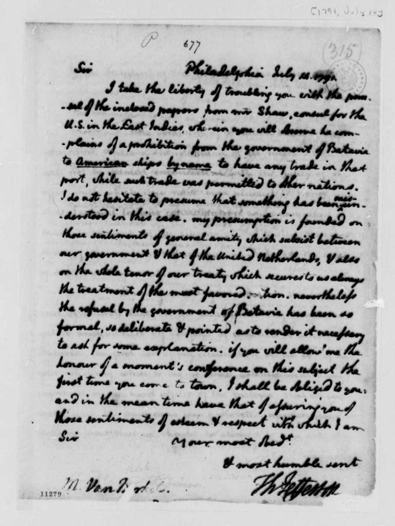 Thomas Jefferson to Franco Perus van Berckel, July 14, 1791