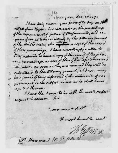 Thomas Jefferson to George Hammond, December 28, 1791