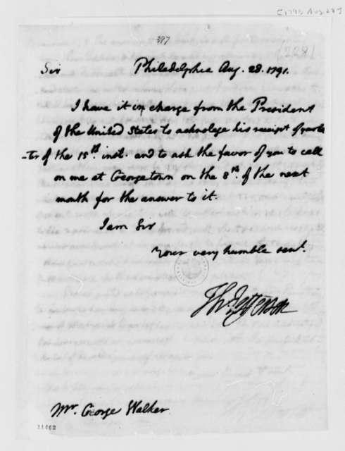 Thomas Jefferson to George Walker, August 28, 1791