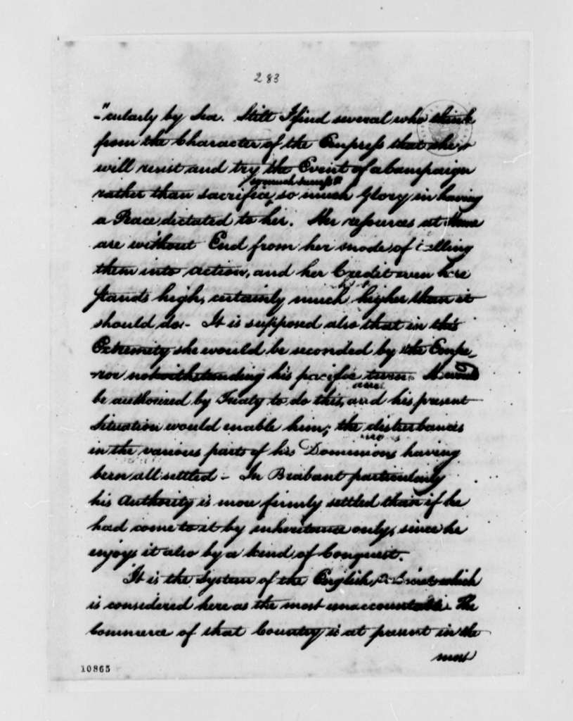 Thomas Jefferson to George Washington, April 10, 1791, with Extract of Letter, William Short to Thomas Jefferson, dated January 24, 1791