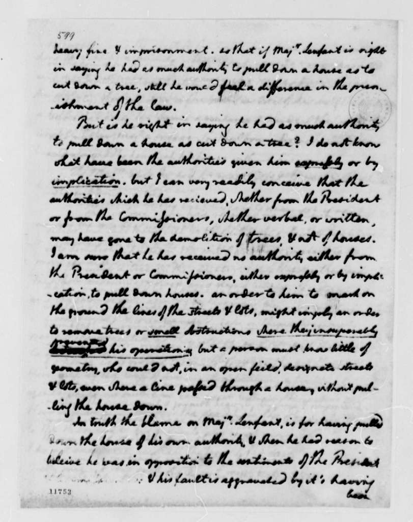 Thomas Jefferson to George Washington, December 11, 1791, with Observations on Major L'Enfant's Letter dated December 7, 1791; Partial Transcription Available
