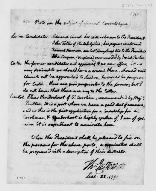 Thomas Jefferson to George Washington, December 22, 1791, Notes on Consuls