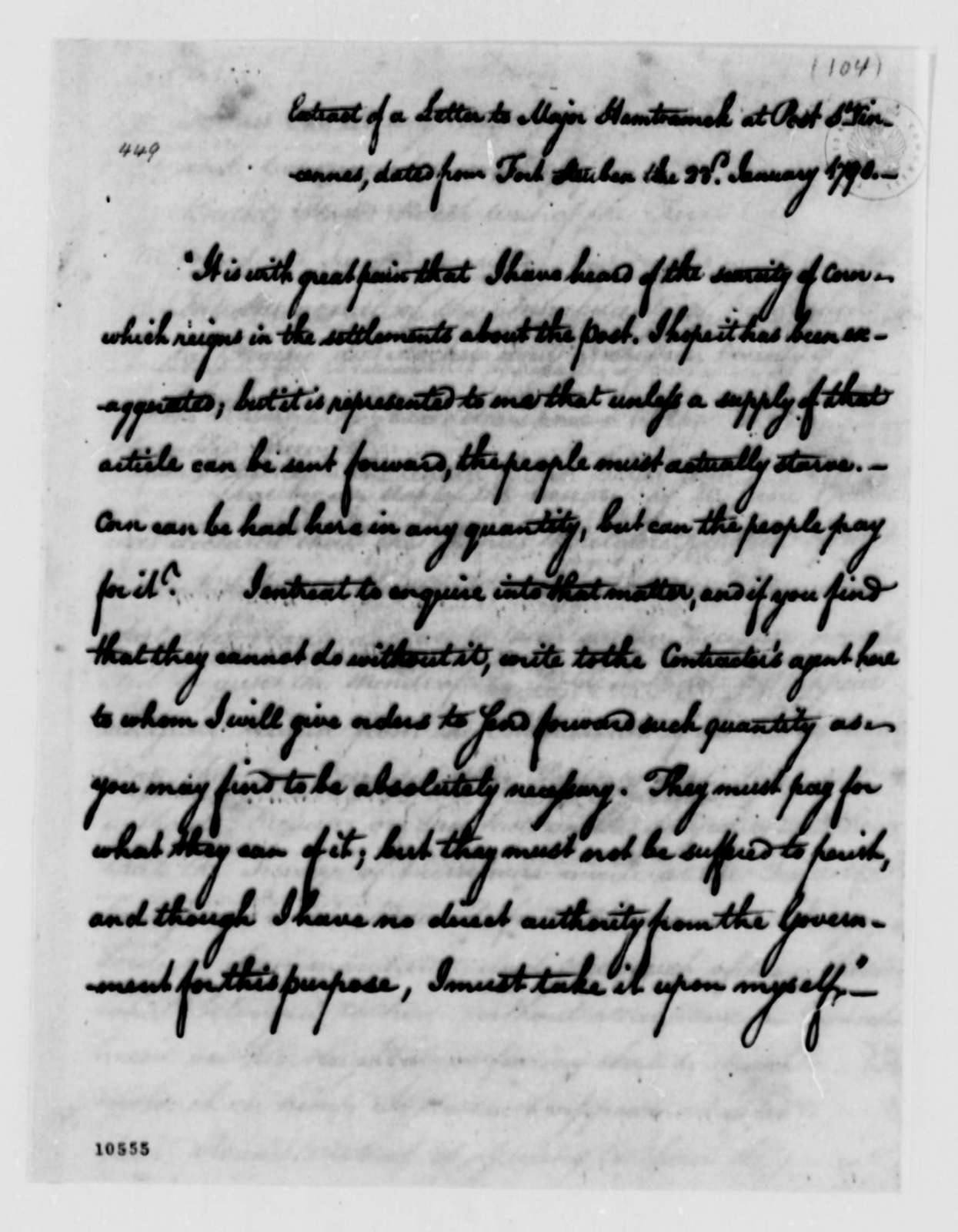 Thomas Jefferson to George Washington, February 17, 1791, Report with Extracts on Northwest Territory