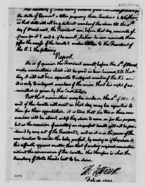 Thomas Jefferson to George Washington, February 19, 1791, Opinion for President