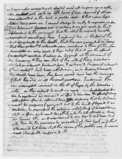 Thomas Jefferson to George Washington, February 7, 1791, Conversation Notes