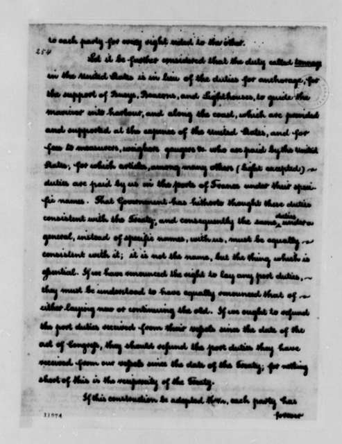 Thomas Jefferson to George Washington, January 17, 1791, Report on the Current French Policies on Trade with the United States