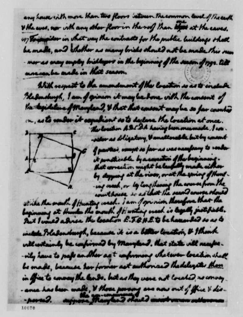 Thomas Jefferson to George Washington, March 11, 1791, Memorandum