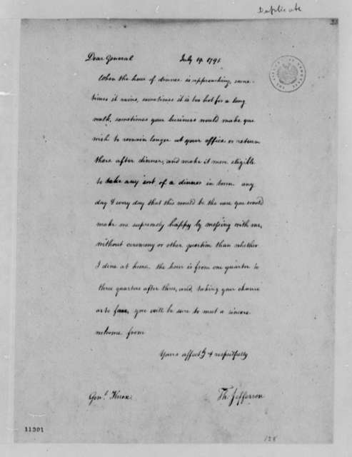 Thomas Jefferson to Henry Knox, July 19, 1791, with Copy