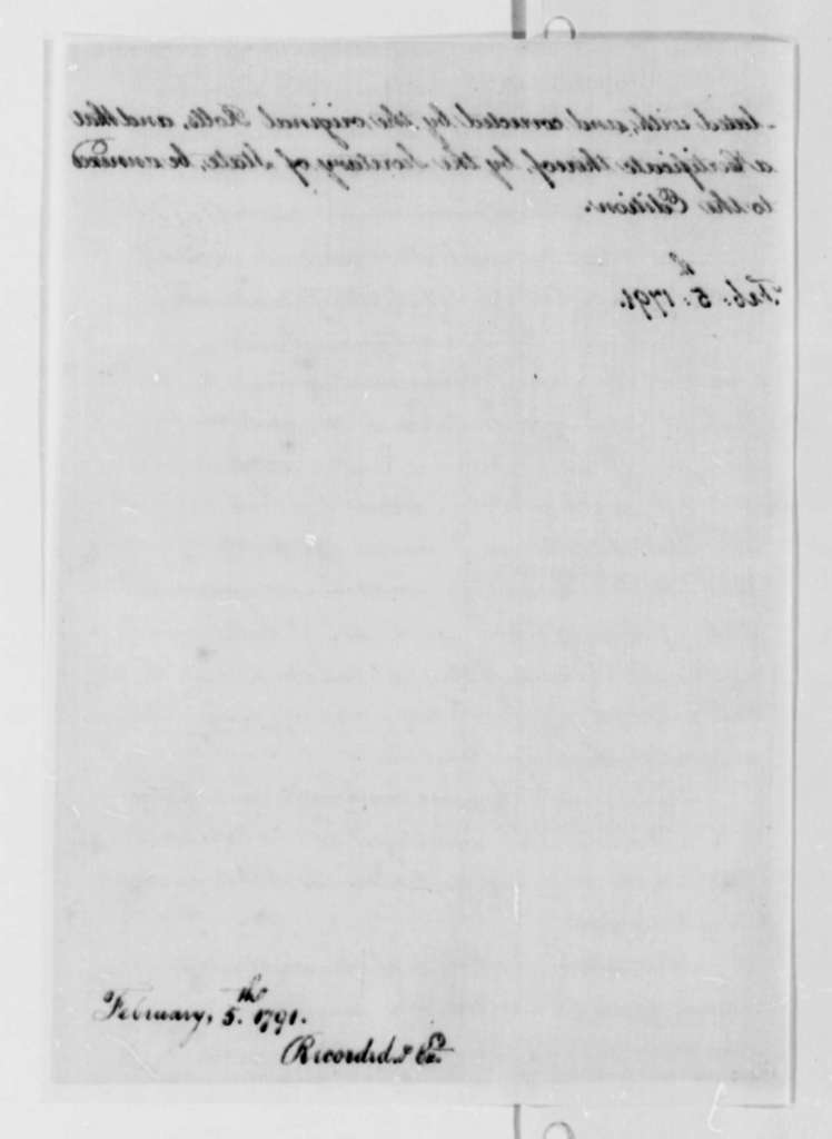 Thomas Jefferson to House of Representatives, February 5, 1791, with Report