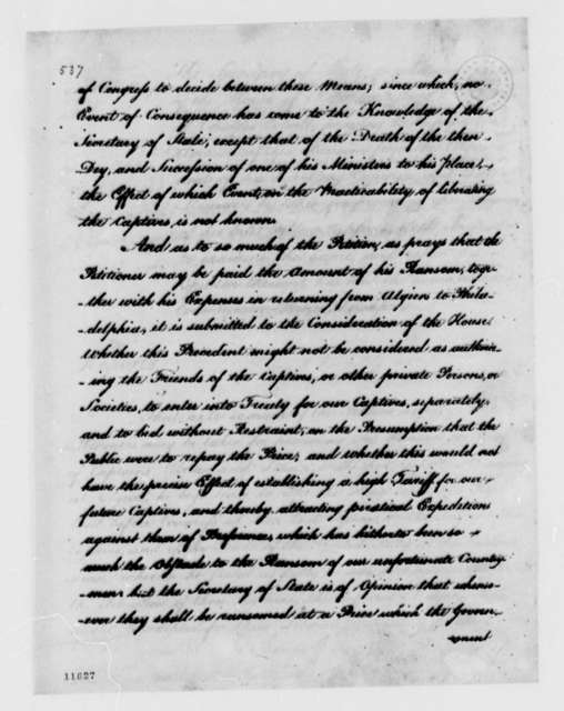 Thomas Jefferson to House of Representatives, November 14, 1791, with Reports on Petitions of William Howe and Charles Colvill; Partial Transcription Available