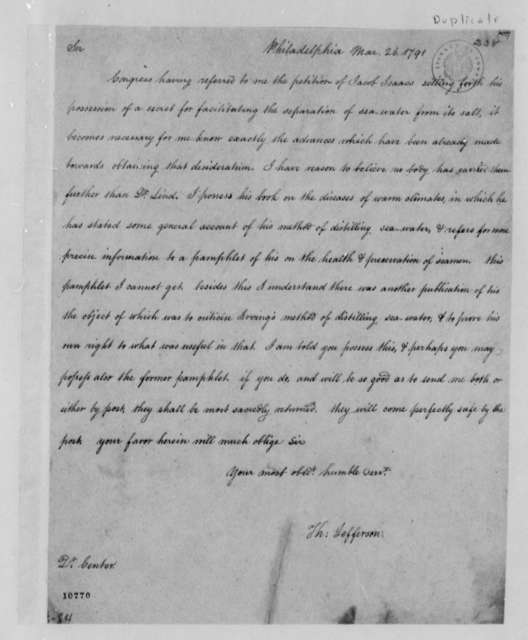 Thomas Jefferson to Issac Center, March 26, 1791, with Copy