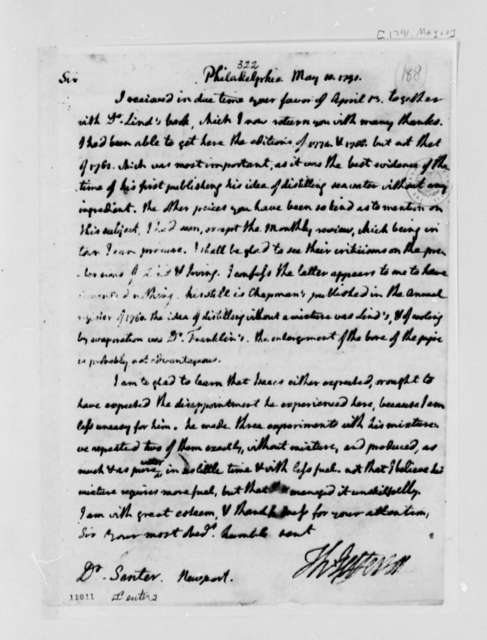 Thomas Jefferson to Issac Center, May 10, 1791, with Copy