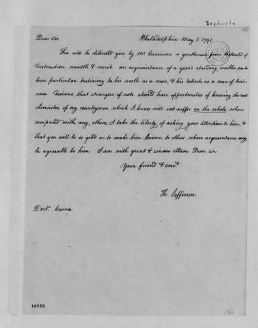 Thomas Jefferson to James Currie, May 1, 1791, with Copy
