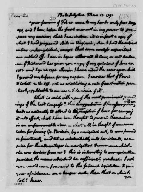 Thomas Jefferson to James Innes, February 13, 1791, Transcription recipient states Harry Innes