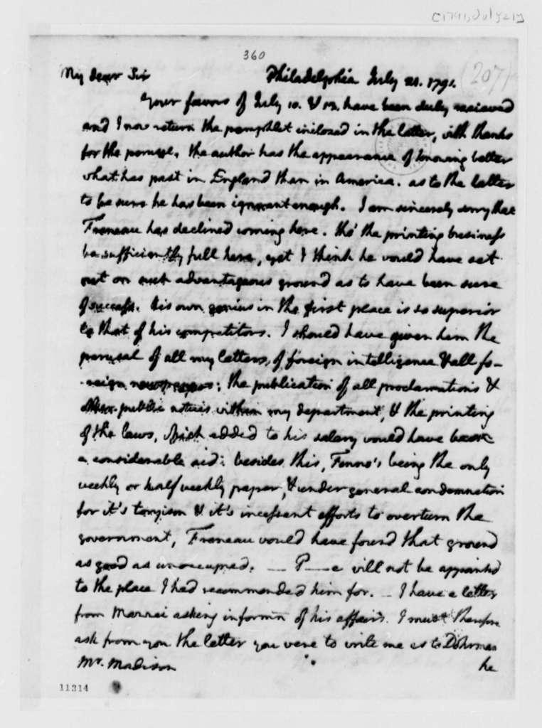Thomas Jefferson to James Madison, July 21, 1791, with Copy
