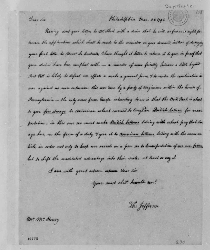 Thomas Jefferson to James McHenry, March 28, 1791, with Copy