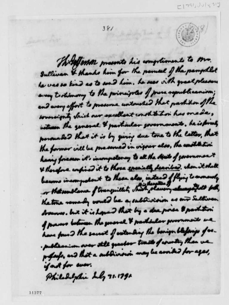 Thomas Jefferson to James Sullivan, July 31, 1791, with Copy
