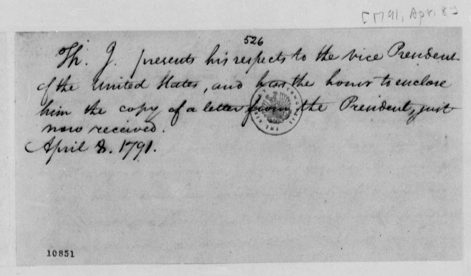 Thomas Jefferson to John Adams, April 8, 1791
