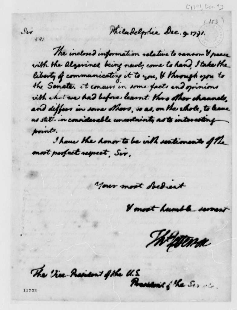 Thomas Jefferson to John Adams, December 9, 1791, with Extract of Letter from William Short to Thomas Jefferson Dated Aug. 24, 1791