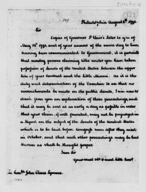 Thomas Jefferson to John Cleves Symmes, August 6, 1791