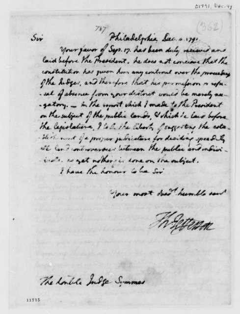 Thomas Jefferson to John Cleves Symmes, December 4, 1791