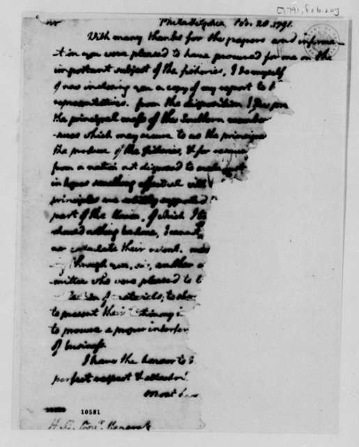 Thomas Jefferson to John Hancock, February 20, 1791, Mutilated and Incomplete