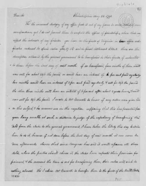 Thomas Jefferson to John Paradise, August 26, 1791, with Copy