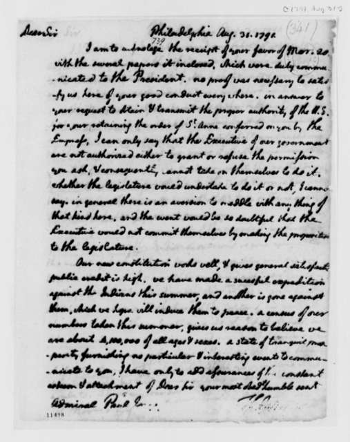 Thomas Jefferson to John Paul Jones, August 31, 1791