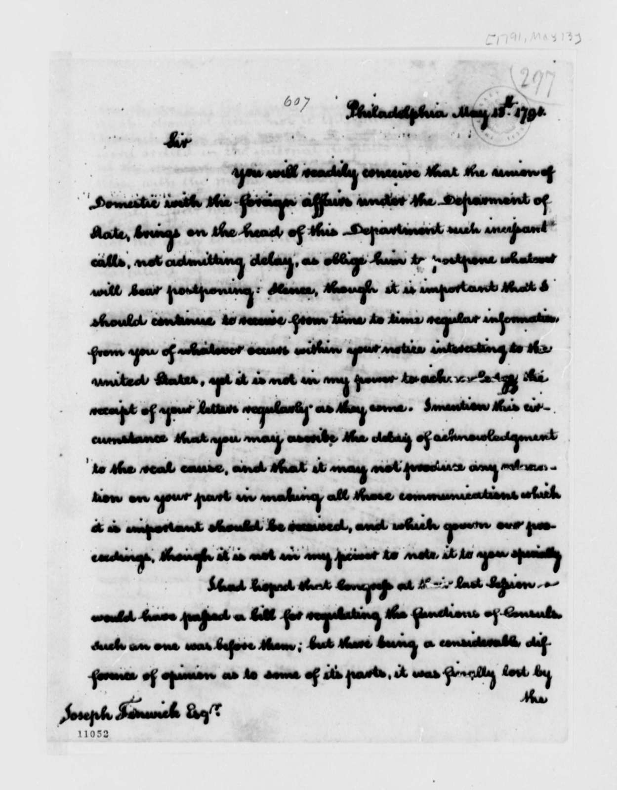 Thomas Jefferson to Joseph Fenwick, May 13, 1791