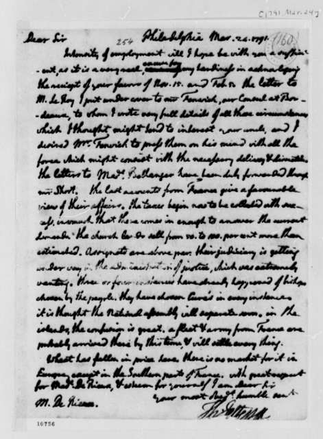 Thomas Jefferson to Justin Pierre Plumard Derieux, March 24, 1791, with Copy