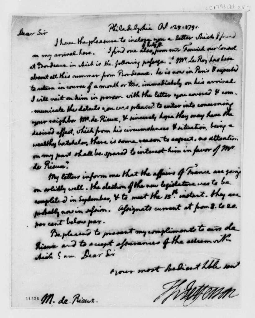 Thomas Jefferson to Justin Pierre Plumard Derieux, October 25, 1791