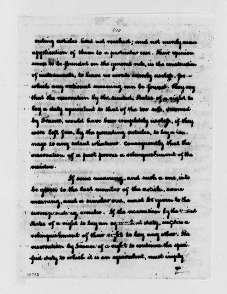 Thomas Jefferson to Louis Guillaume Otto, March 29, 1791, Transcription recipient states L. W. Otto