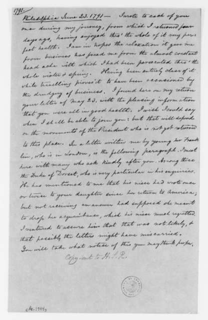 Thomas Jefferson to Martha Randolph, June 23, 1791, Extract from Letter