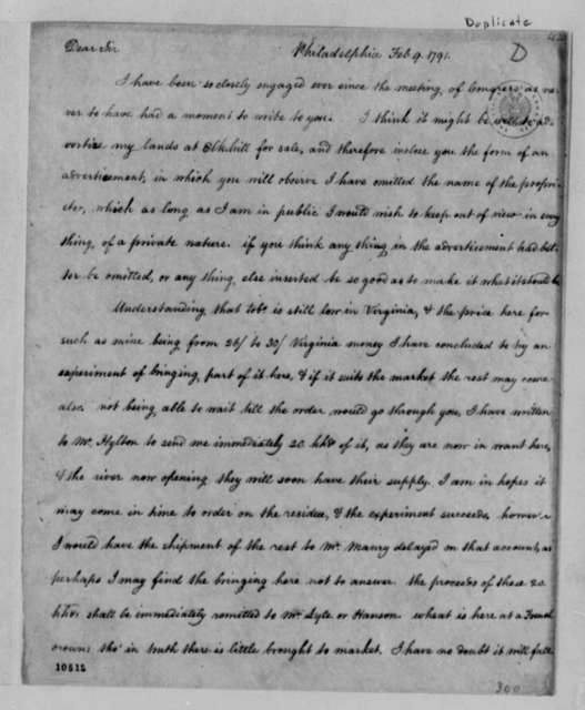 Thomas Jefferson to Nicholas Lewis, February 9, 1791, with Copy