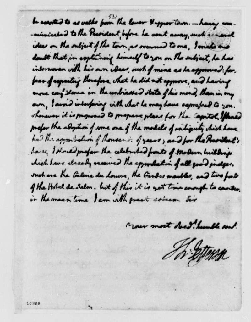 Thomas Jefferson to Peter Charles L'Enfant, April 10, 1791